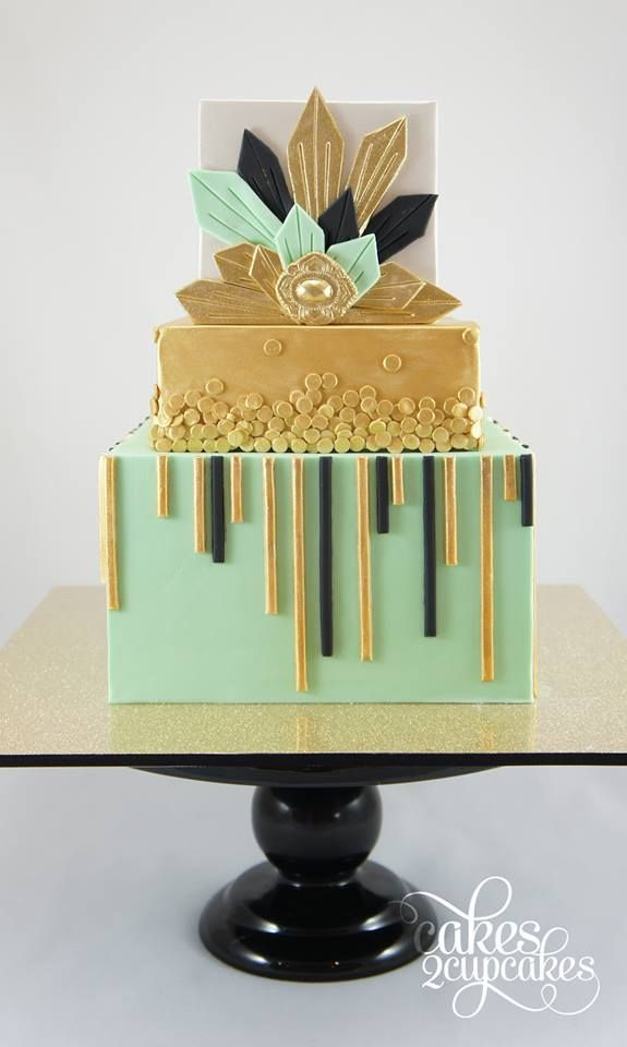 Black and Gold Art Deco Wedding Cakes