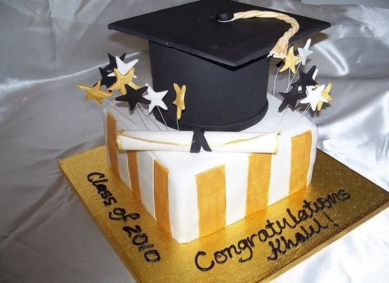 Black and Gold Graduation Cakes Square