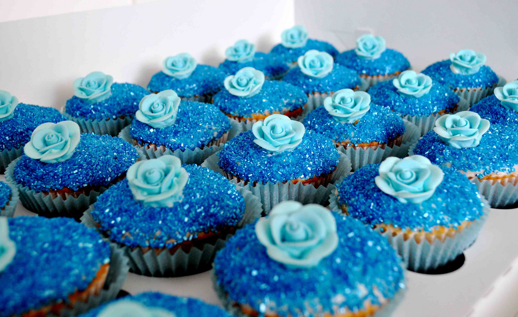 Blue Glitter Wedding Cupcakes