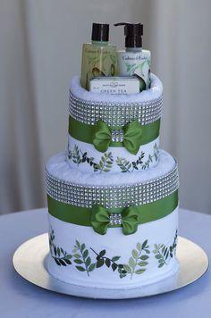 Bridal Shower Towel Cake Centerpiece