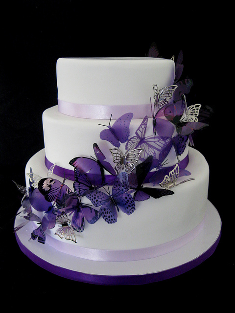 Butterfly and Purple Wedding Cake