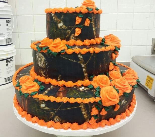 Camo and Orange Wedding Cake