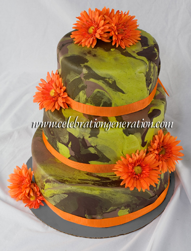 12 Photos of With Orange Camouflage Wedding Cakes