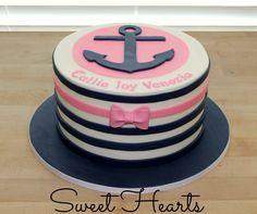 Chevron Anchor Birthday Cake