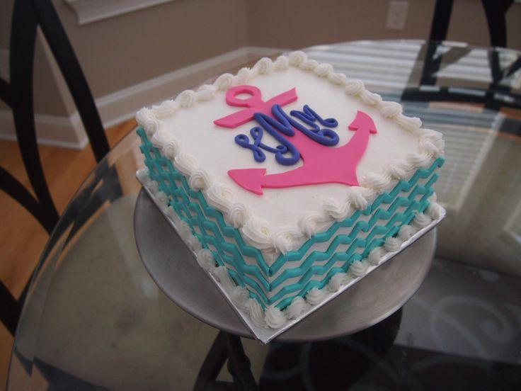Chevron Monogram Birthday Cake
