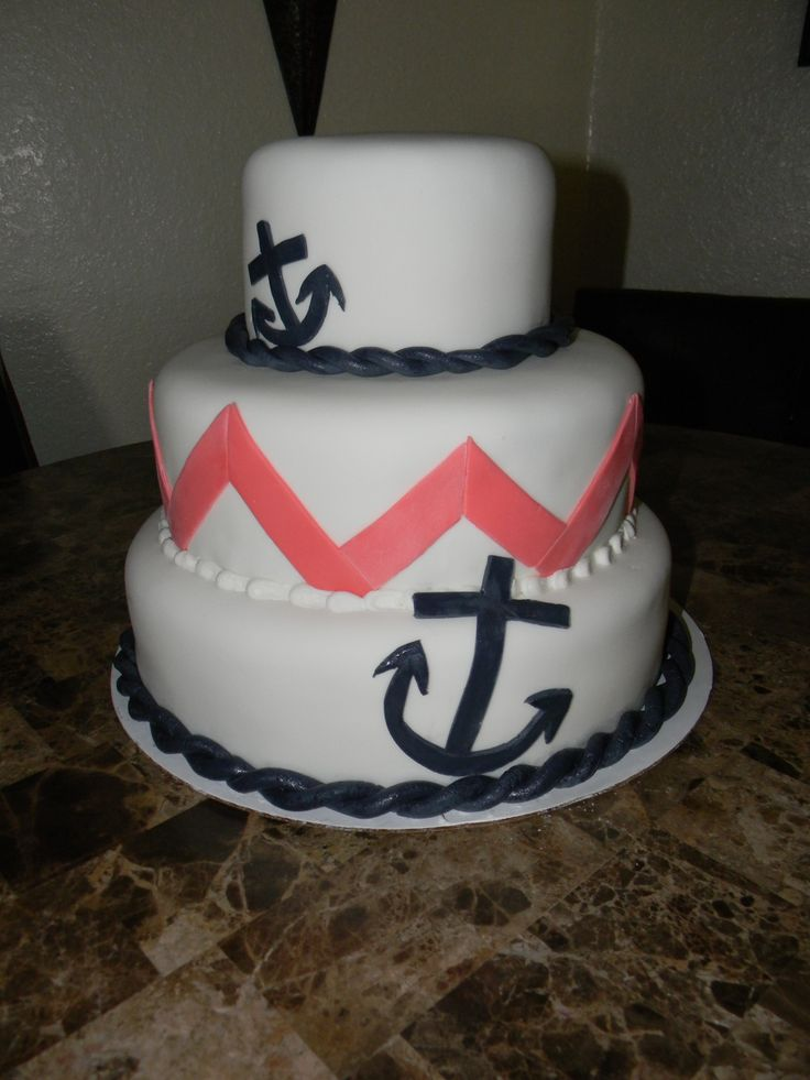 Chevron with Anchor Birthday Cakes