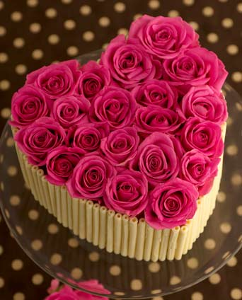 Chocolate Birthday Cake with Pink Roses