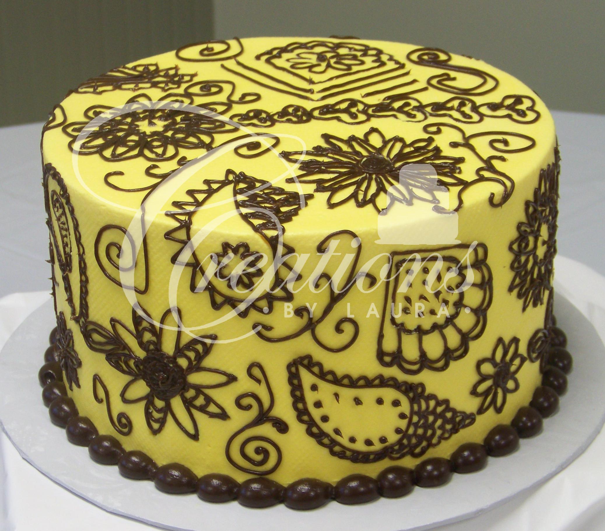 Chocolate Birthday Cake with Yellow