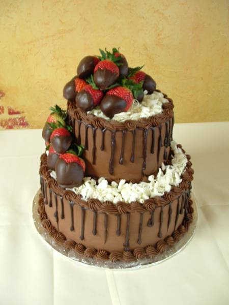 Chocolate Grooms Cake with Strawberries