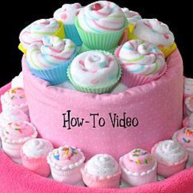 Diaper Baby Shower Washcloth Cupcakes