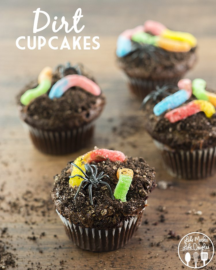 Dirt Cupcakes with Gummy Worms