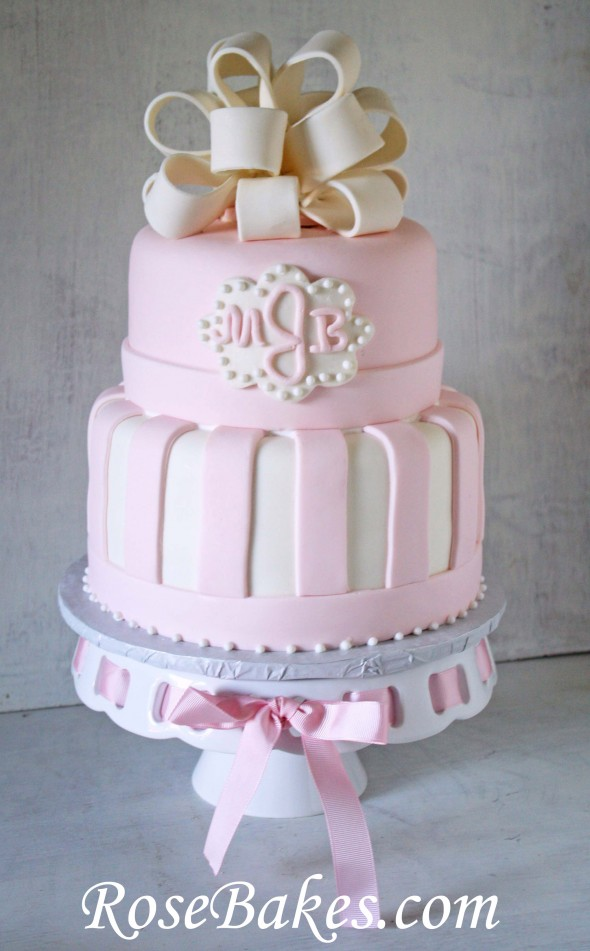 11 Photos of Baby Shower Cakes Elegant White And Pink Flower