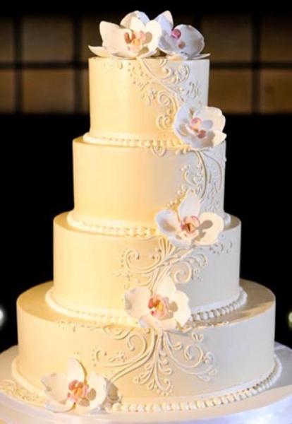 Elegant Buttercream Wedding Cake with Flowers