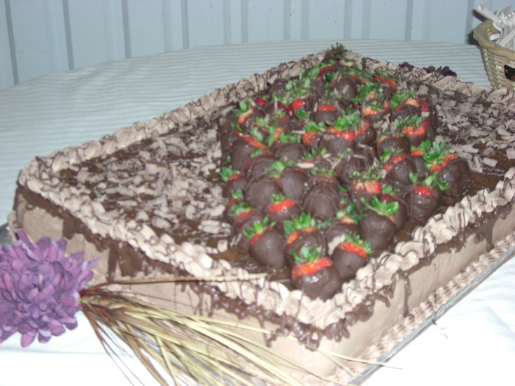 German Chocolate Cake with Strawberries