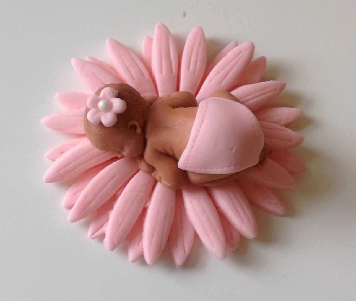 Girl Baby Shower Fondant Cake Toppers