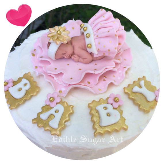 Gold and Pink Baby Shower Cake Topper