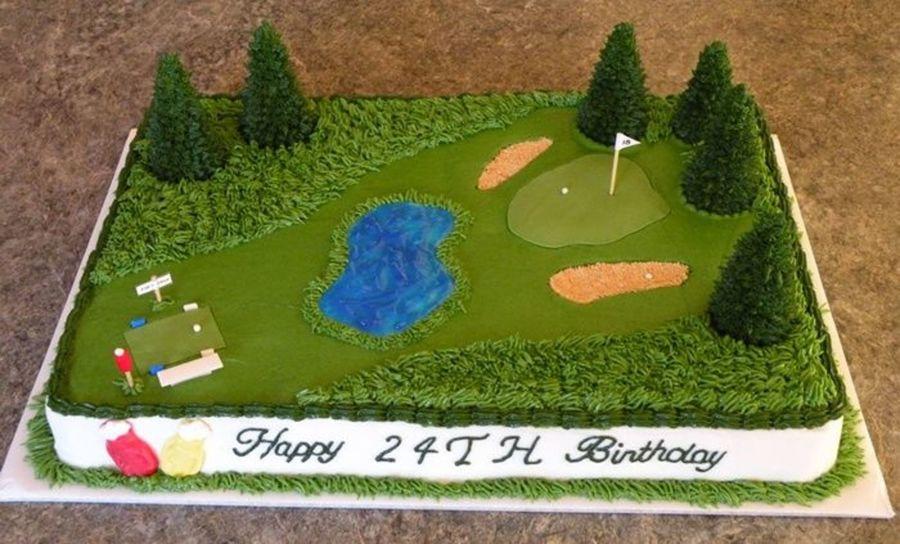 Golf Themed Sheet Birthday Cake