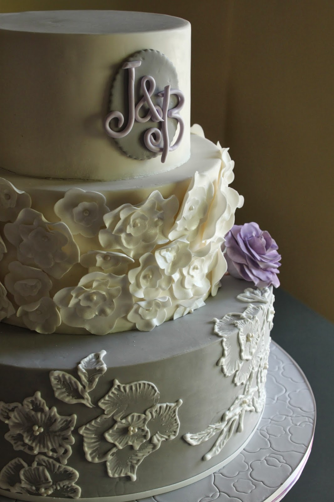 Gray and Lavender Wedding Cake