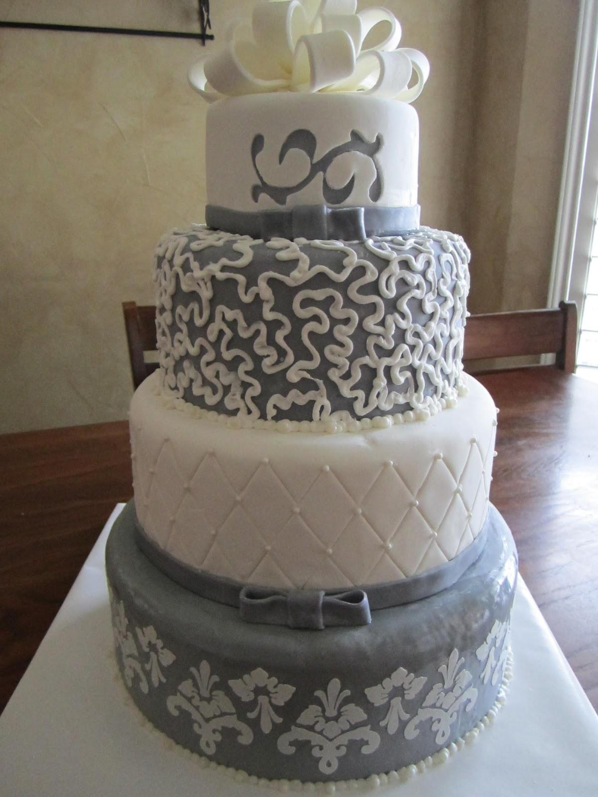 Gray and White Wedding Cake