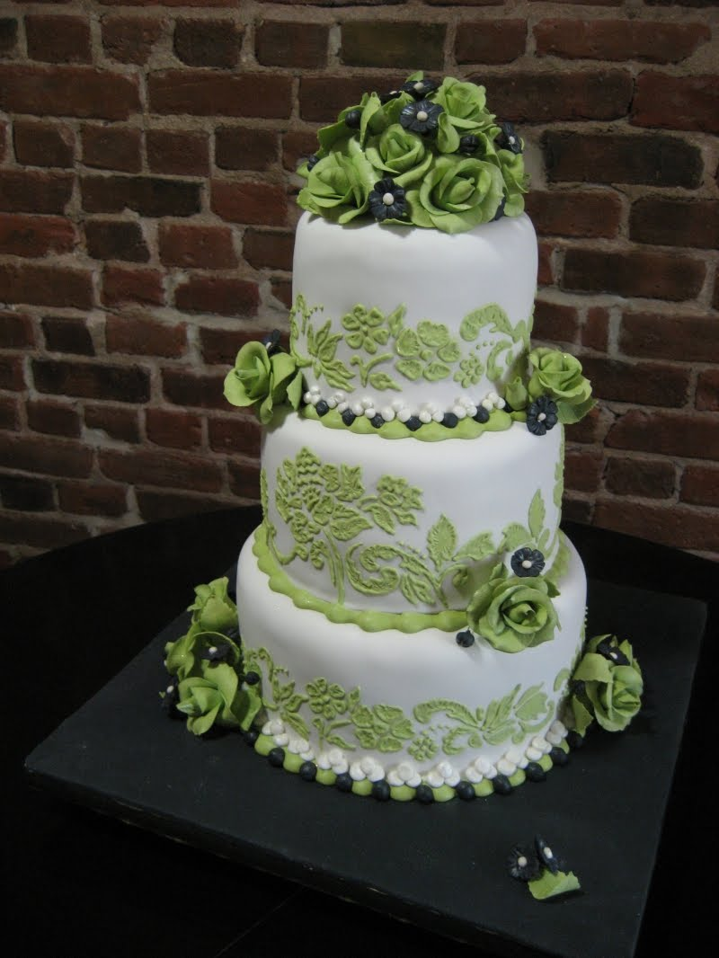 11 Photos of Pink Green And Black Wedding Cakes