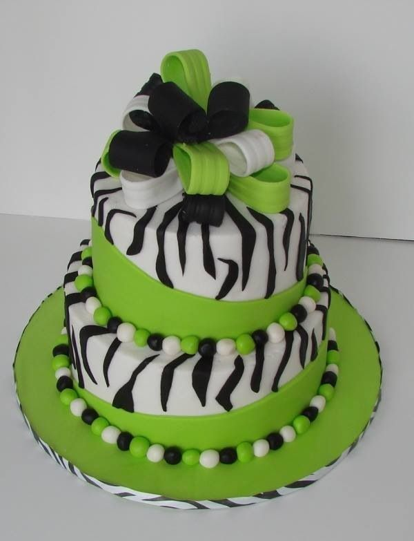 Green and Black Zebra Cake