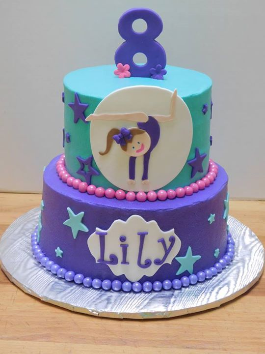 Gymnastics Birthday Cake Purple