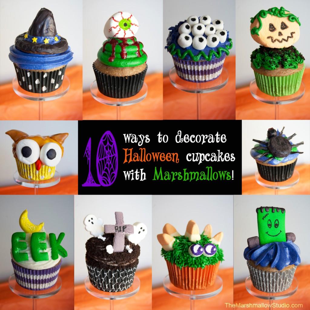 Halloween Cupcakes Using Marshmallows
