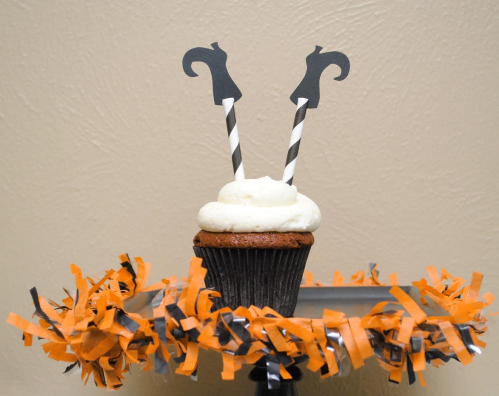 Halloween Witch Legs Cupcake