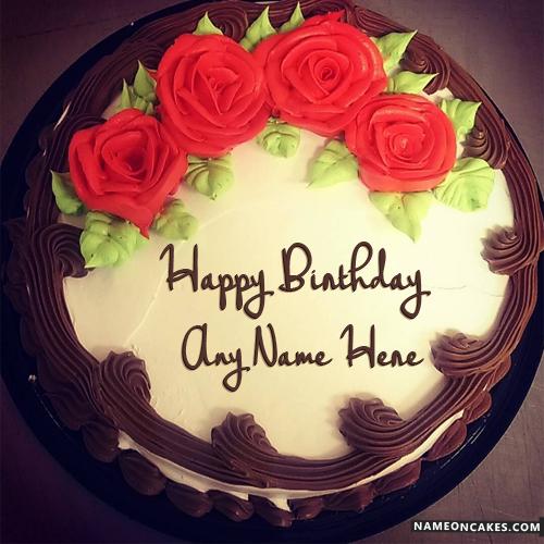 Happy Birthday Rose Cake with Name