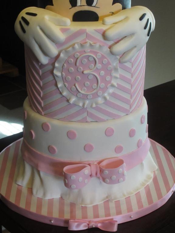 Minnie Mouse Chevron Birthday Cake