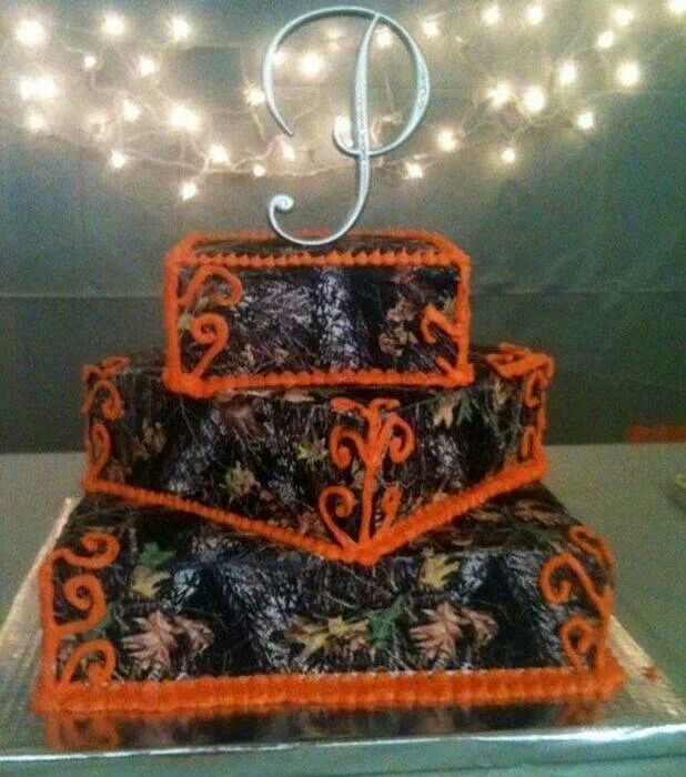 Mossy Oak Camo and Orange Wedding Cakes