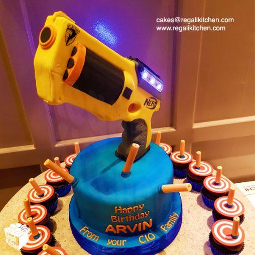 Nerf Gun Cupcake Cake