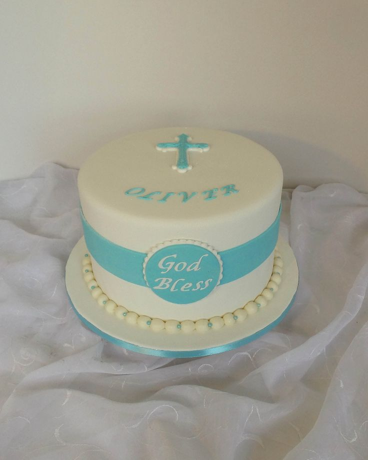 One Layer Cake for Baptism Boy