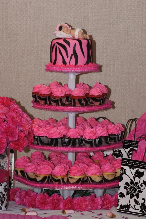Pink and Black Zebra Baby Shower Cake
