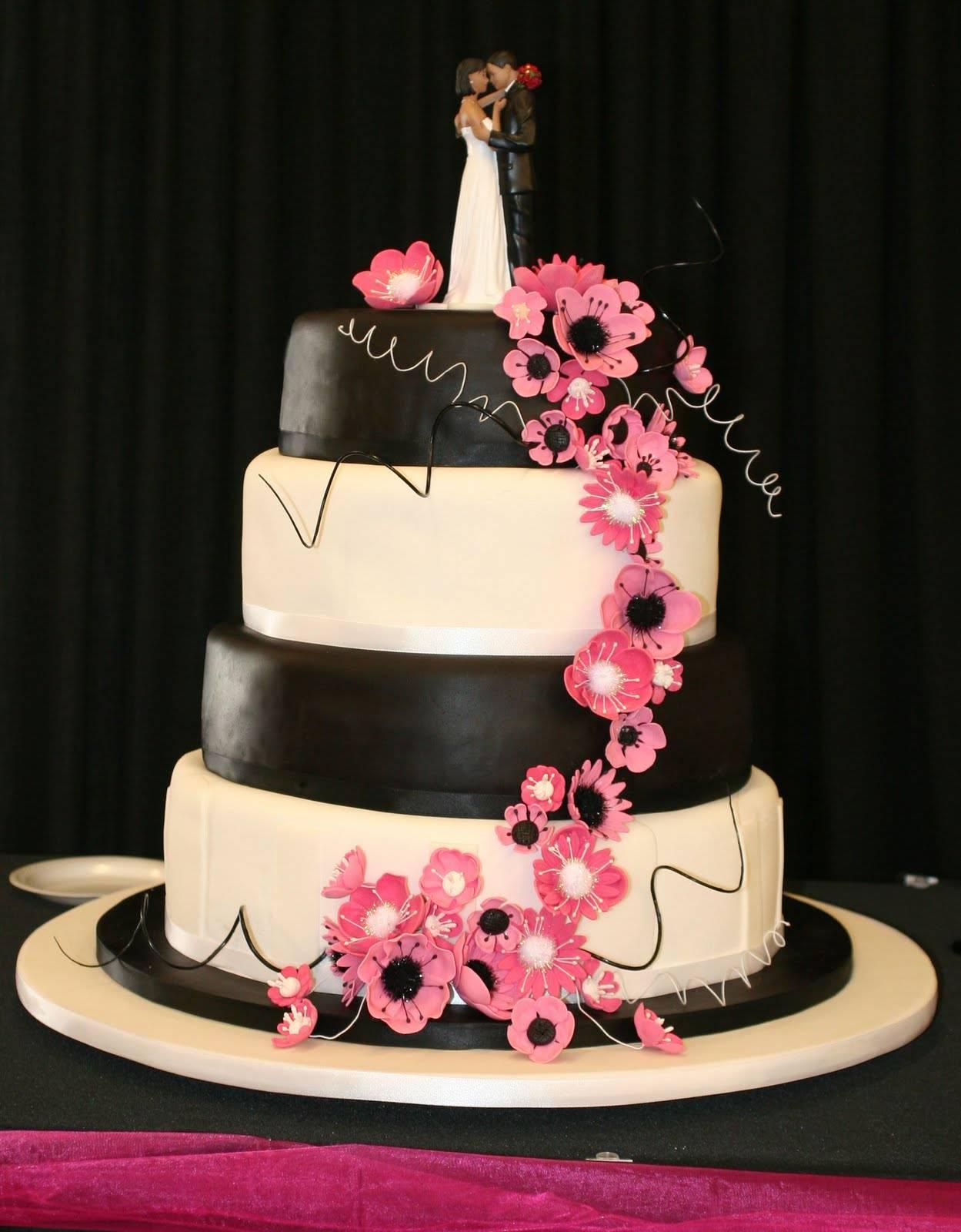Pink Black and White Wedding Cake