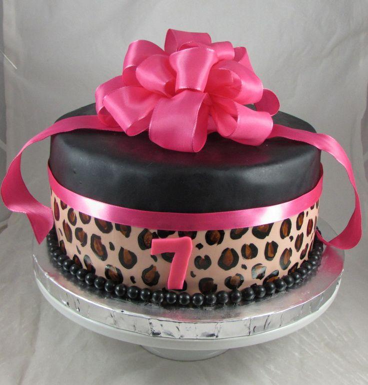 Pink Leopard Print Birthday Cake