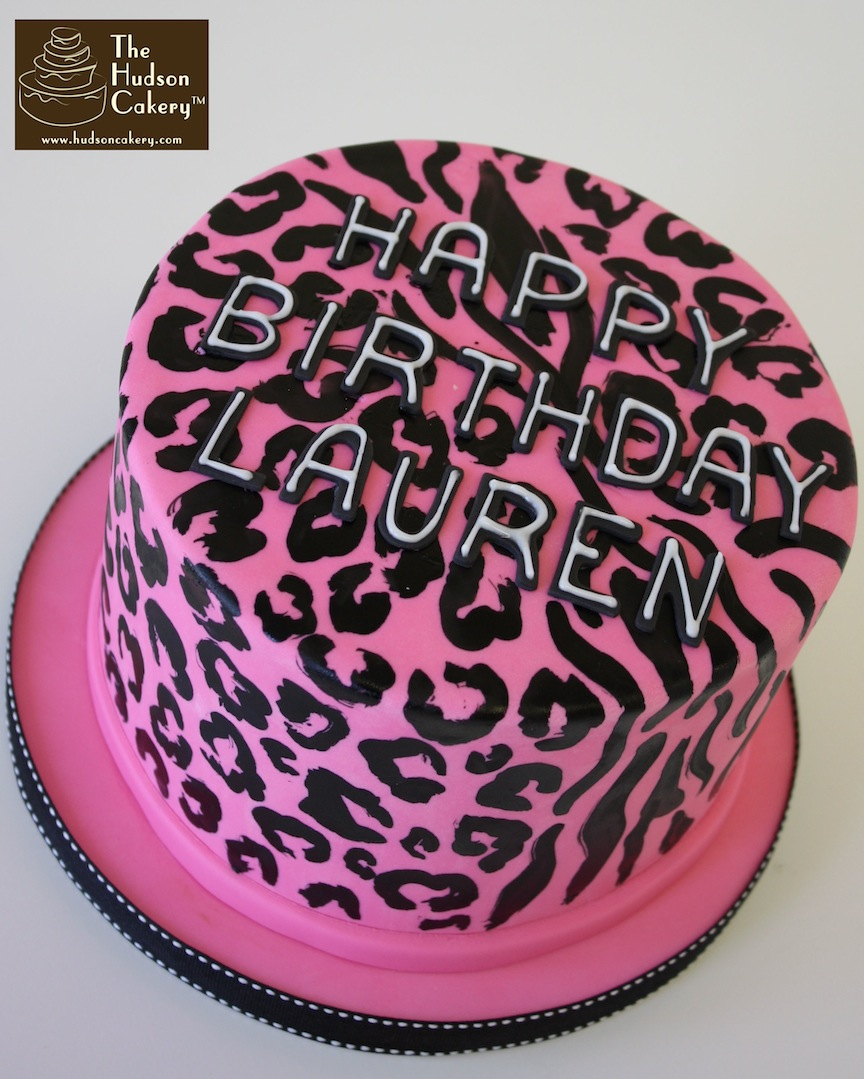 Pink Zebra and Cheetah Print Cake