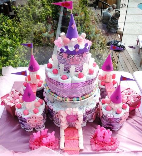 Princess Castle Diaper Cake for Baby Shower