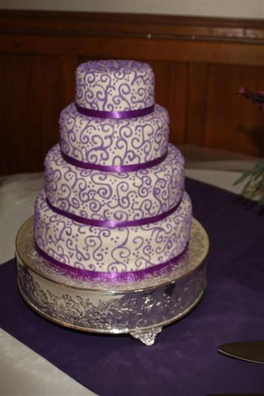 Purple Wedding Cake with Scrolls