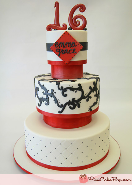 Red and Black Sweet 16 Cake