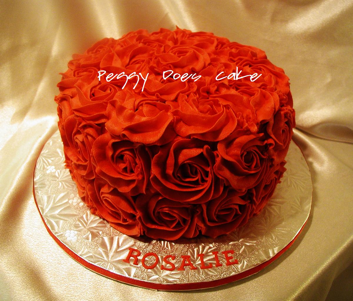 Red Rose Happy Birthday Cake