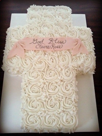Rose Cake Baptism Cross