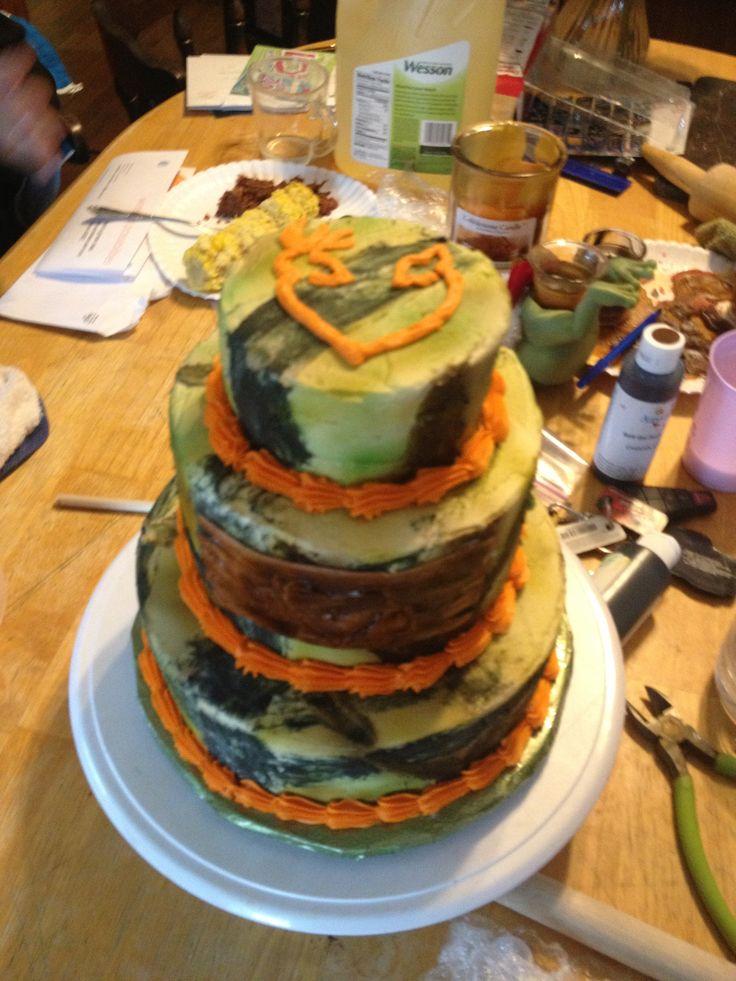 Three Tier Camo Wedding Cake