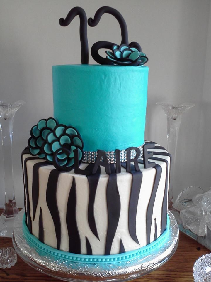 Turquoise and Zebra Birthday Cake