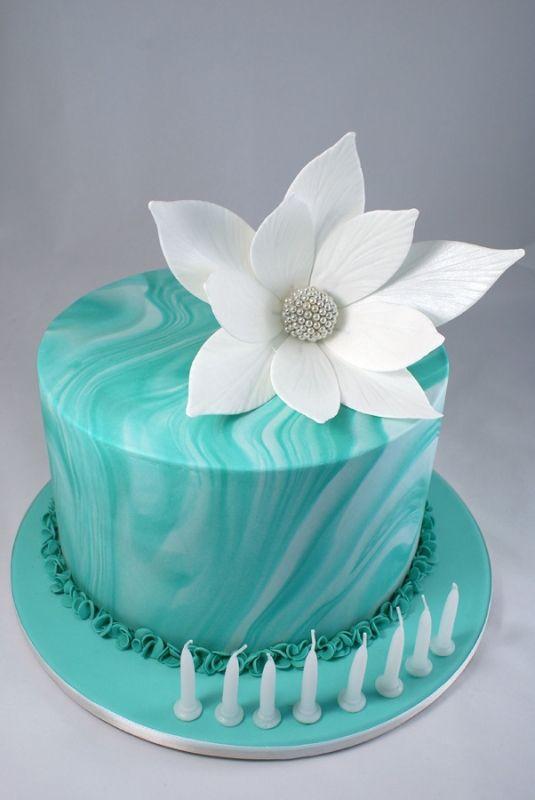 Turquoise Fondant Birthday Cakes
