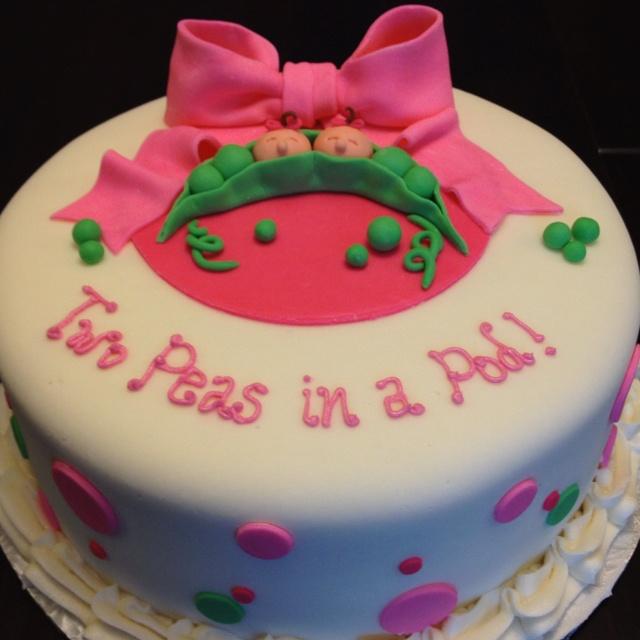 Twin Girls Baby Shower Cake