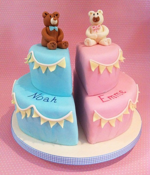 Twin Girls Christening Cake