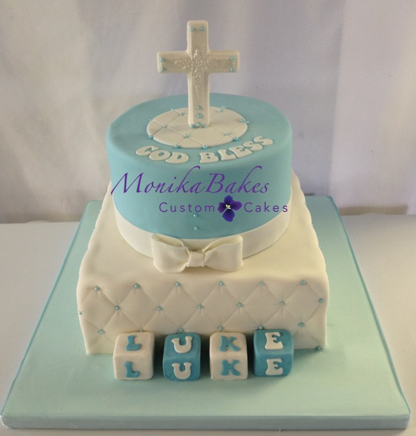 Two Tier Baptism Cake Boy