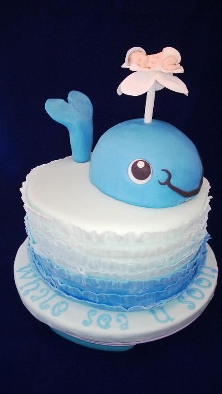 Whale Boy Baby Shower Cake