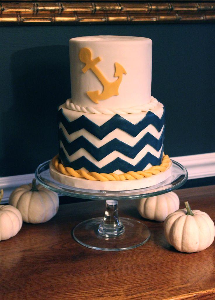 White and Gold Chevron Cake